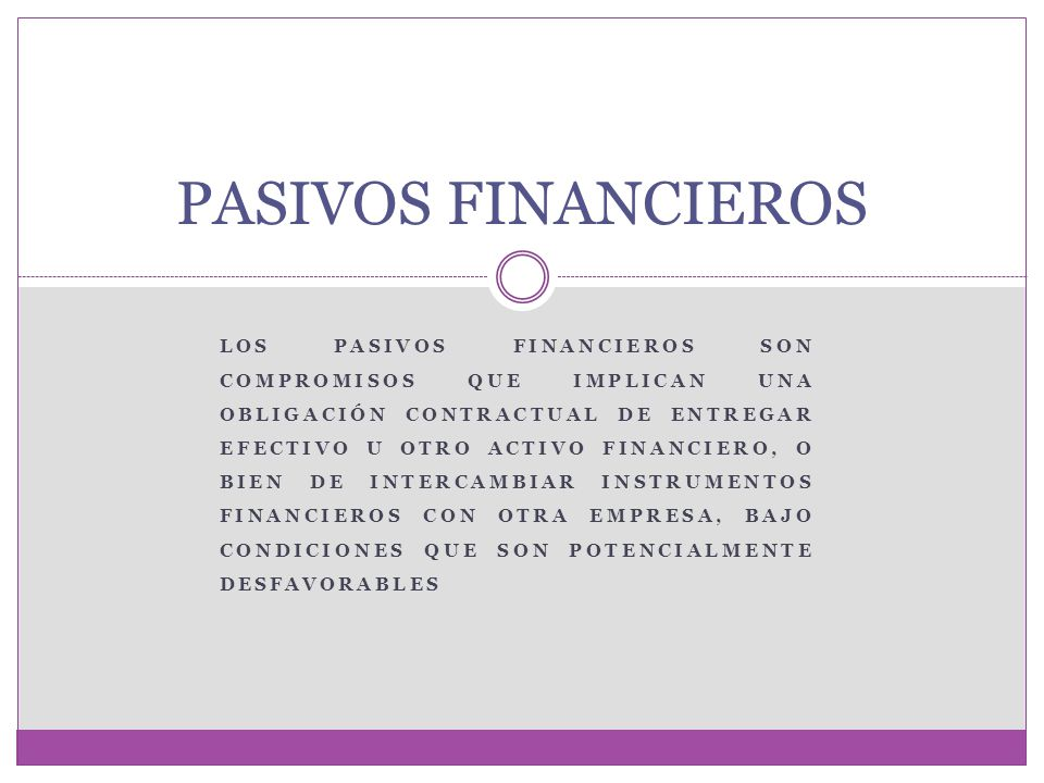 PASIVOS FINANCIEROS