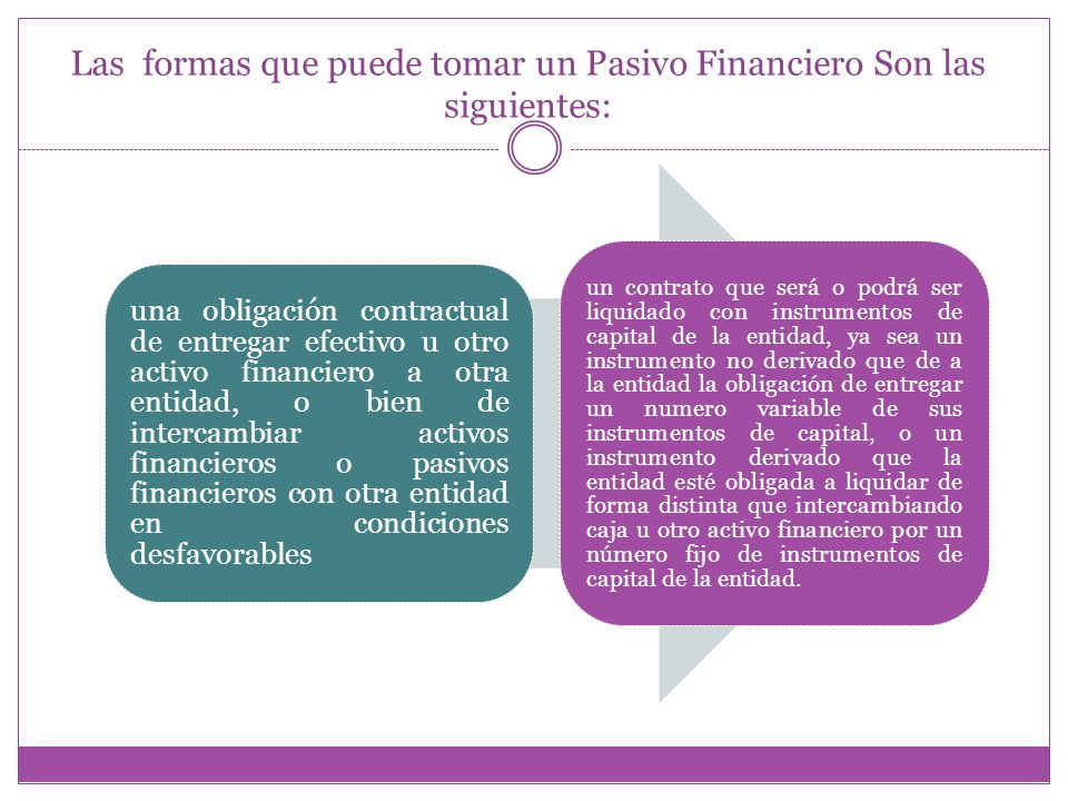 Las formas que puede tomar un Pasivo Financiero Son las siguientes: