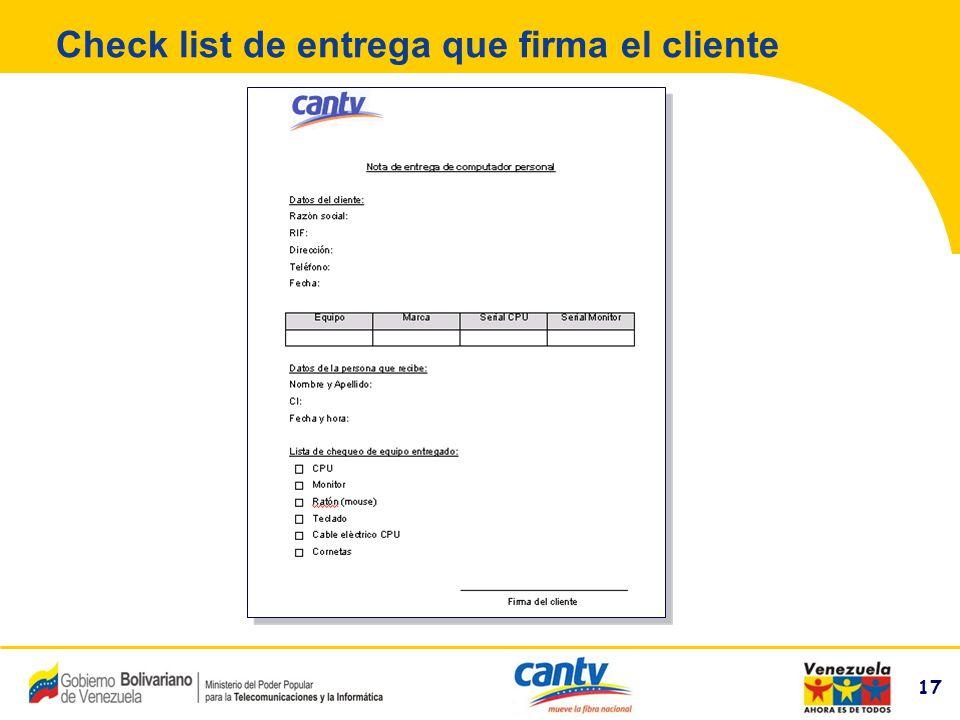 Check list de entrega que firma el cliente