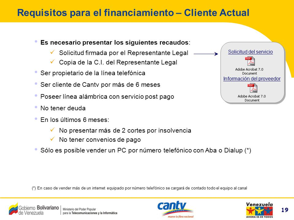 Requisitos para el financiamiento – Cliente Actual
