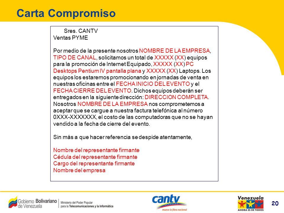 Carta Compromiso Sres. CANTV Ventas PYME