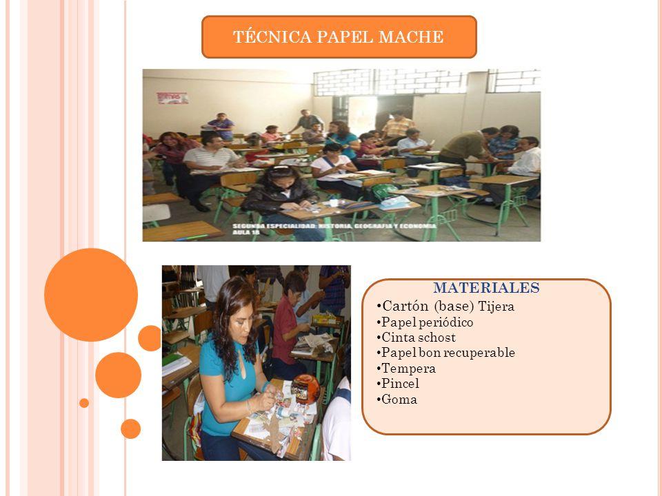 TÉCNICA PAPEL MACHE MATERIALES Cartón (base) Tijera Papel periódico
