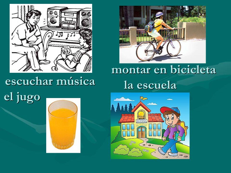 montar en bicicleta escuchar música la escuela el jugo