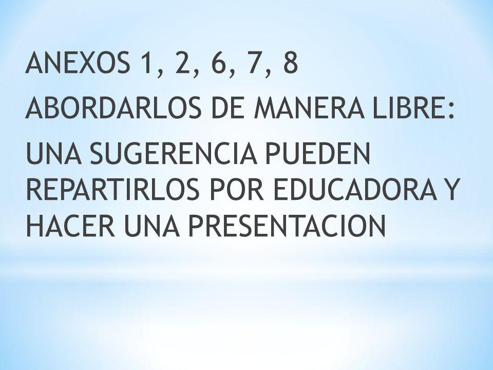 ANEXOS 1, 2, 6, 7, 8 ABORDARLOS DE MANERA LIBRE: UNA SUGERENCIA PUEDEN REPARTIRLOS POR EDUCADORA Y HACER UNA PRESENTACION