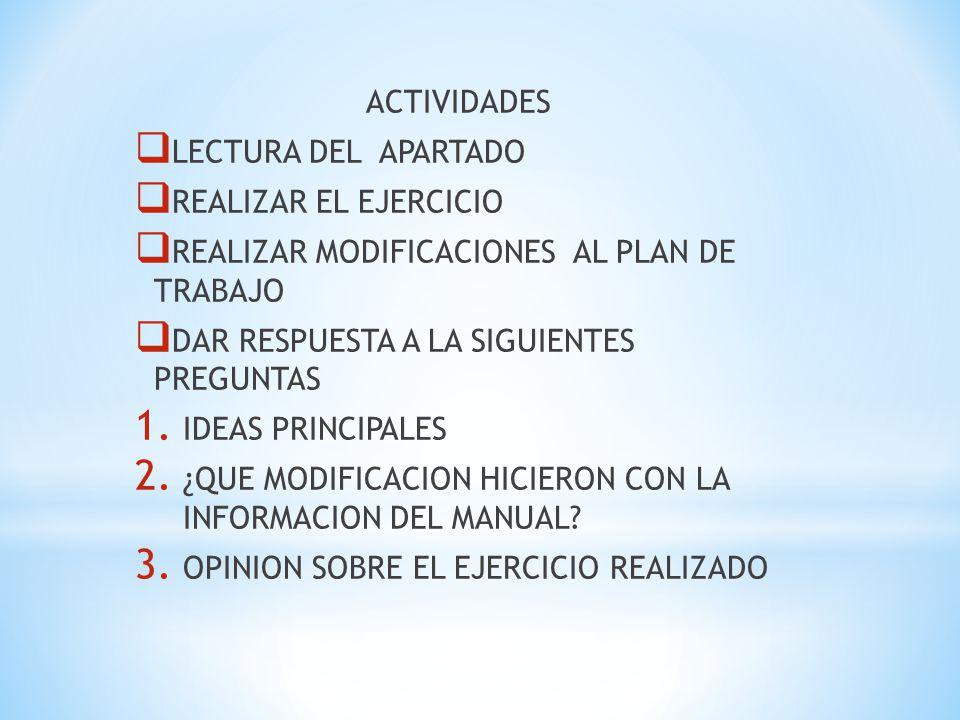 ACTIVIDADES LECTURA DEL APARTADO. REALIZAR EL EJERCICIO. REALIZAR MODIFICACIONES AL PLAN DE TRABAJO.