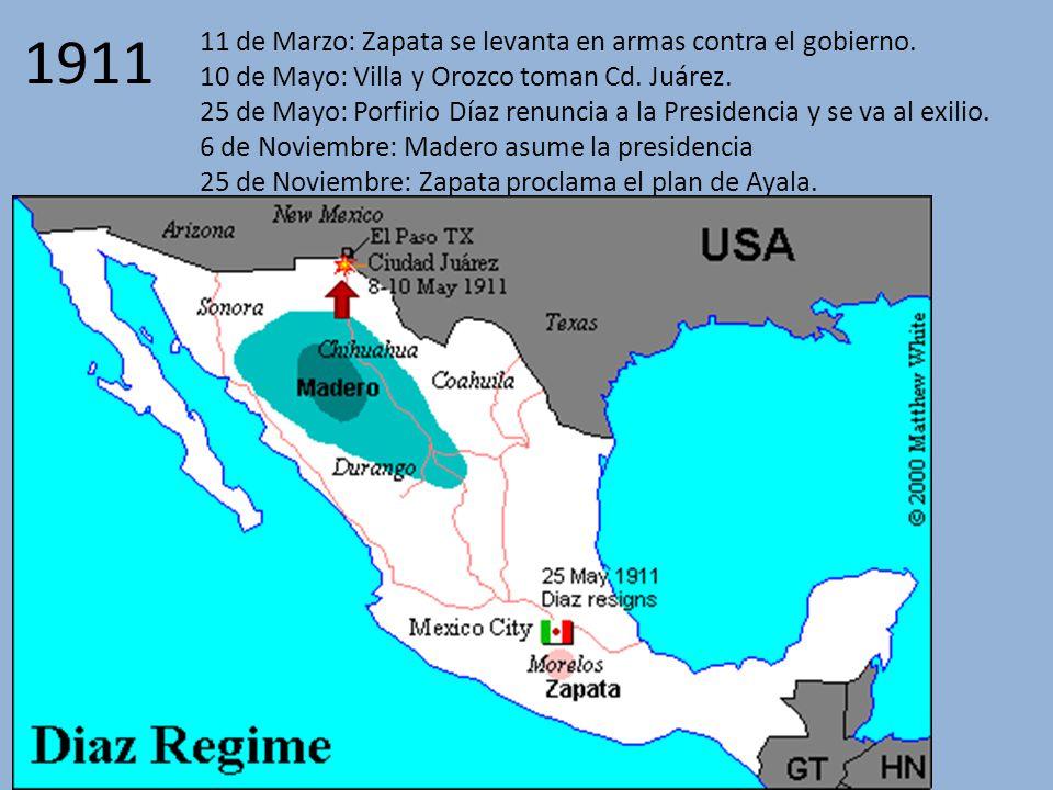 1911 11 de Marzo: Zapata se levanta en armas contra el gobierno.