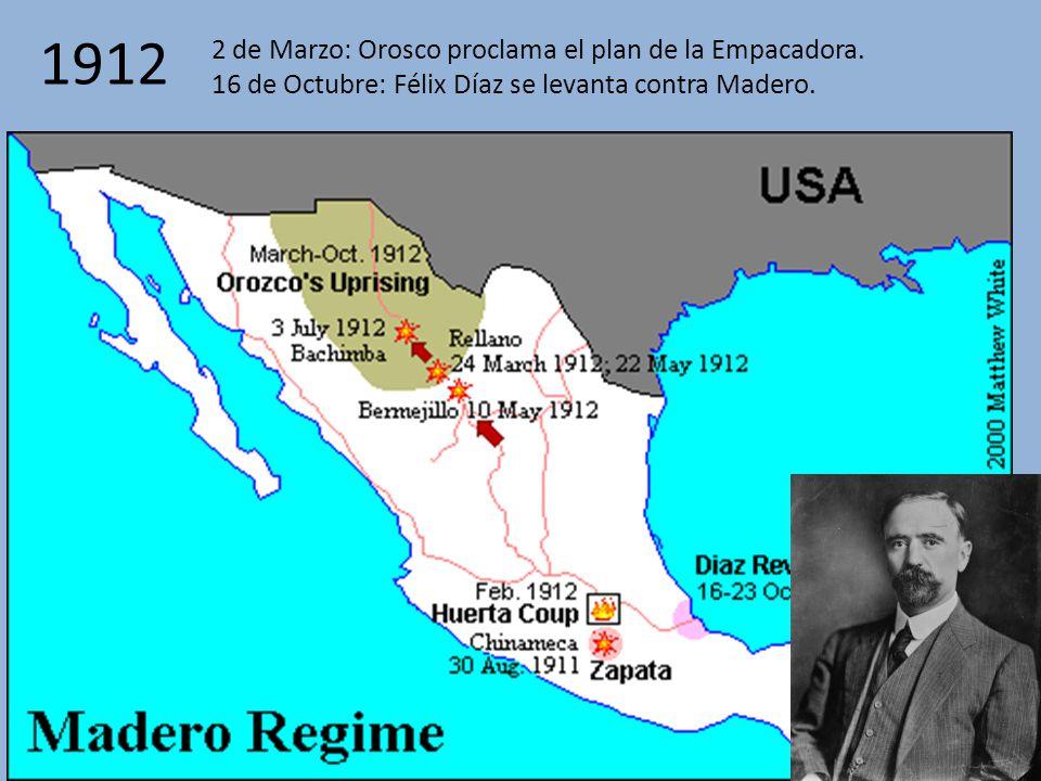 1912 2 de Marzo: Orosco proclama el plan de la Empacadora.