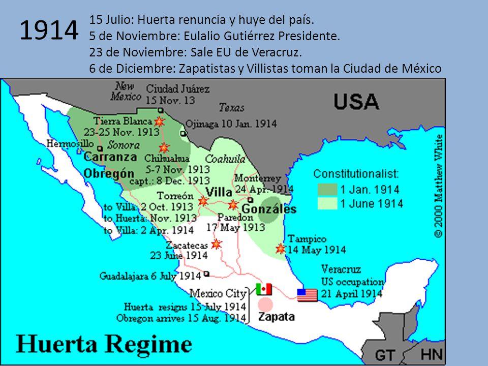 1914 15 Julio: Huerta renuncia y huye del país.