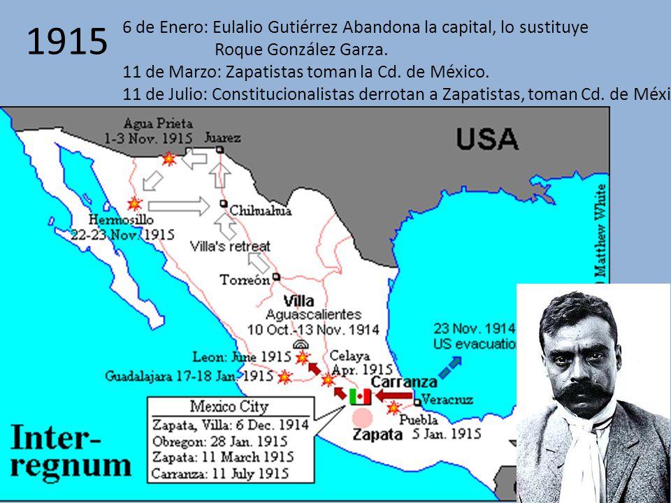 1915 6 de Enero: Eulalio Gutiérrez Abandona la capital, lo sustituye