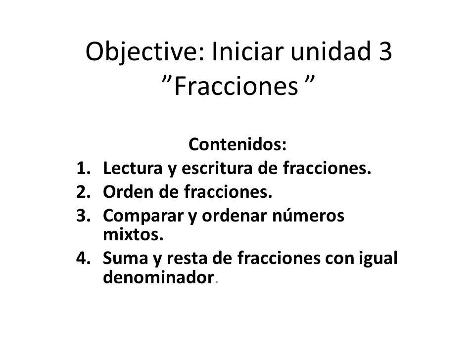 Objective: Iniciar unidad 3 Fracciones
