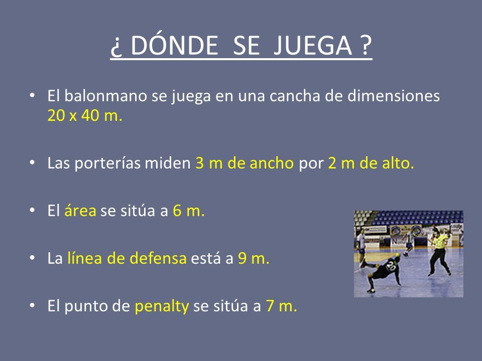 ¿ DÓNDE SE JUEGA El balonmano se juega en una cancha de dimensiones 20 x 40 m. Las porterías miden 3 m de ancho por 2 m de alto.