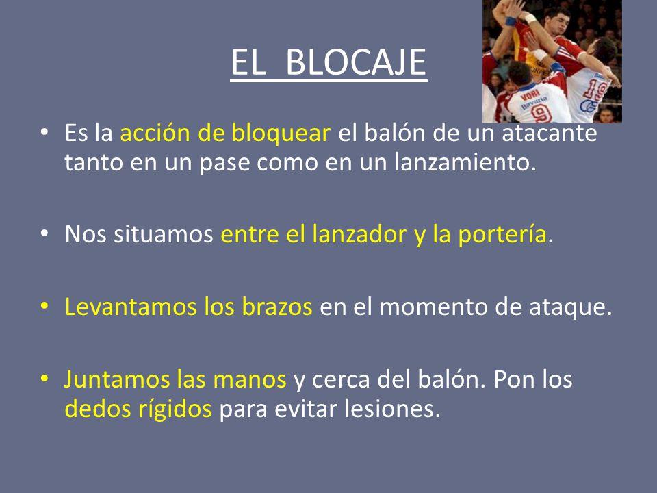 EL BLOCAJE Es la acción de bloquear el balón de un atacante tanto en un pase como en un lanzamiento.