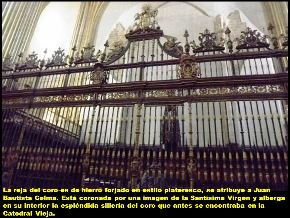 La reja del coro es de hierro forjado en estilo plateresco, se atribuye a Juan Bautista Celma.