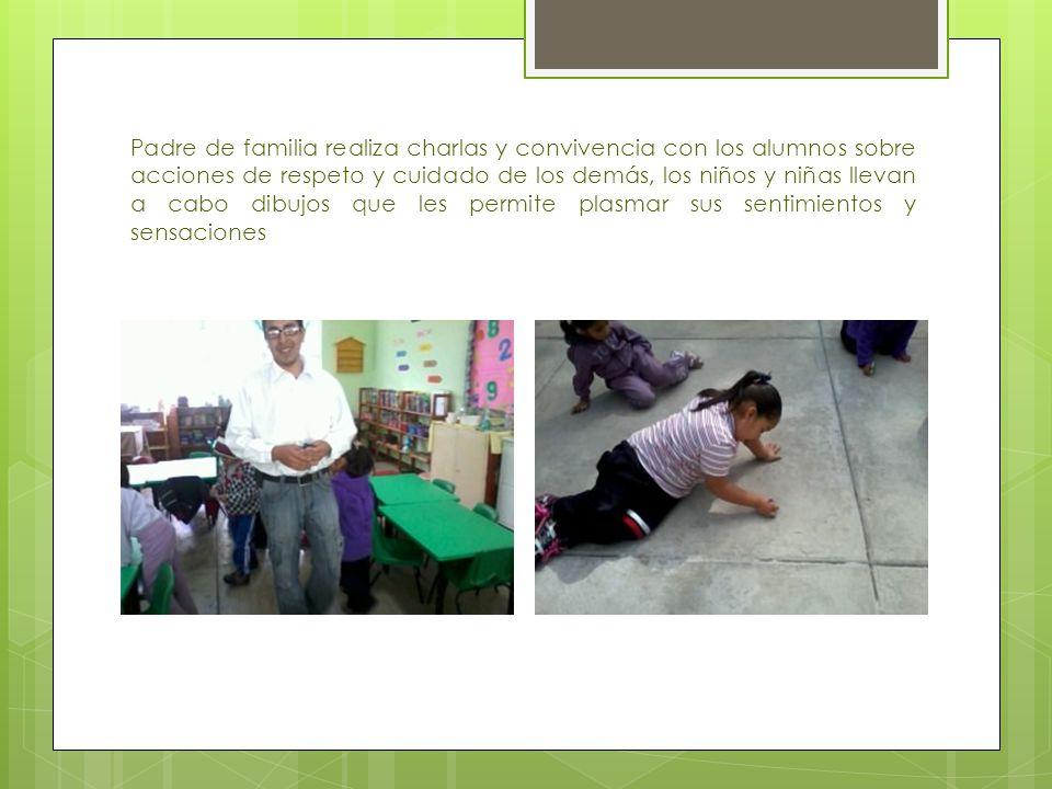 Padre de familia realiza charlas y convivencia con los alumnos sobre acciones de respeto y cuidado de los demás, los niños y niñas llevan a cabo dibujos que les permite plasmar sus sentimientos y sensaciones