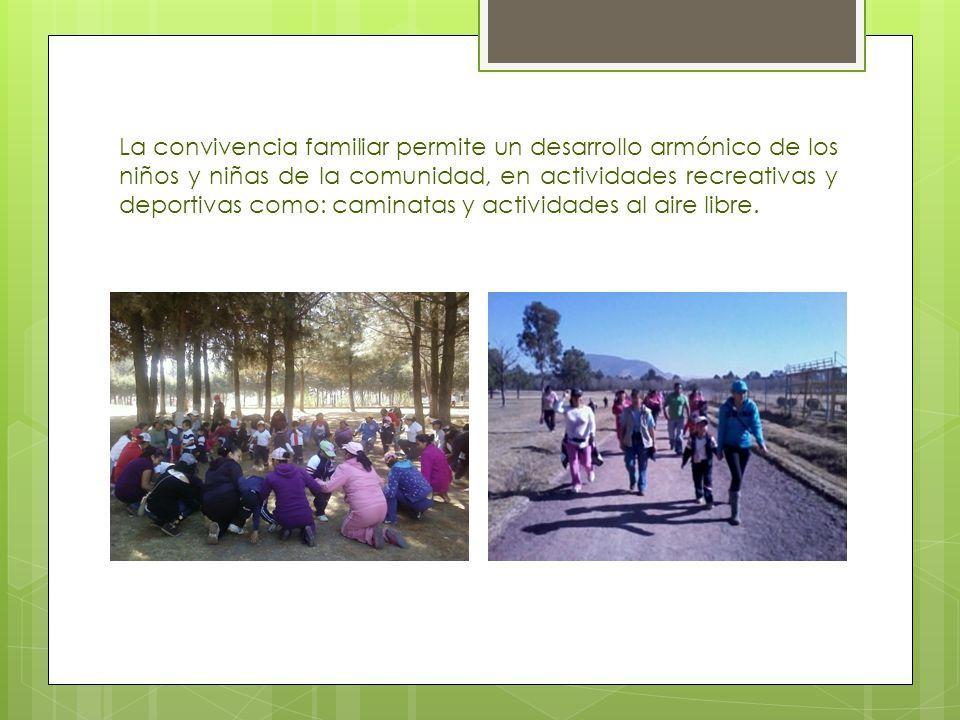 La convivencia familiar permite un desarrollo armónico de los niños y niñas de la comunidad, en actividades recreativas y deportivas como: caminatas y actividades al aire libre.
