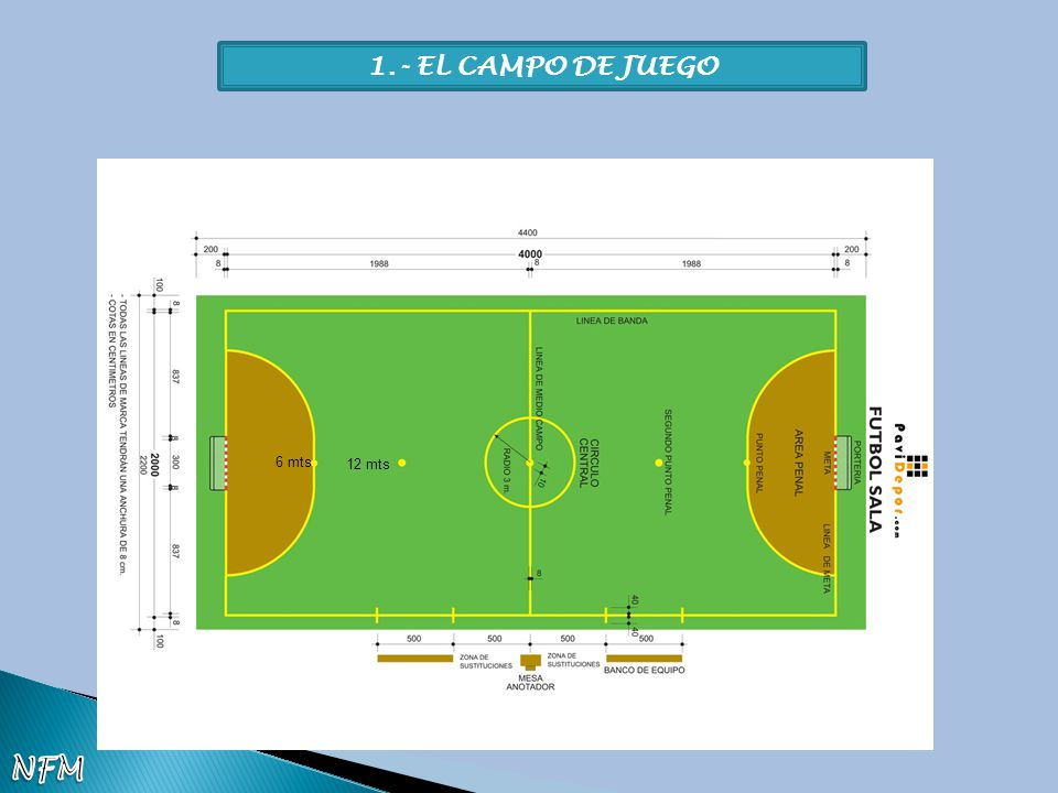 1.- EL CAMPO DE JUEGO 6 mts 12 mts NFM