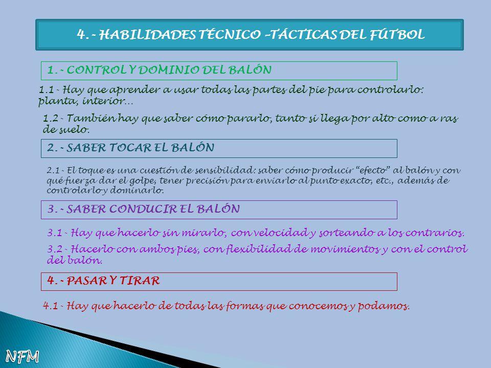 4.- HABILIDADES TÉCNICO –TÁCTICAS DEL FÚTBOL