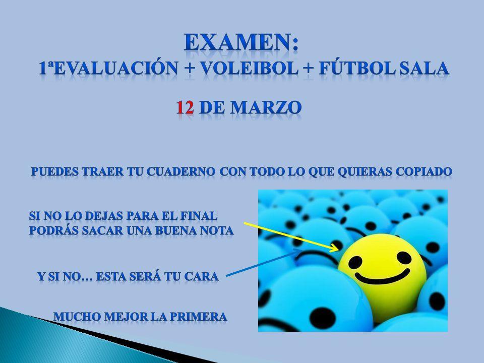 Examen: 1ªEVALUACIÓN + VOLEIBOL + FÚTBOL SALA 12 DE MARZO