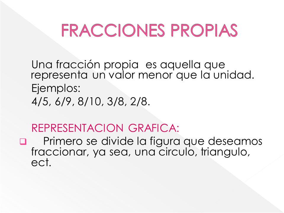 FRACCIONES PROPIAS Una fracción propia es aquella que representa un valor menor que la unidad. Ejemplos: