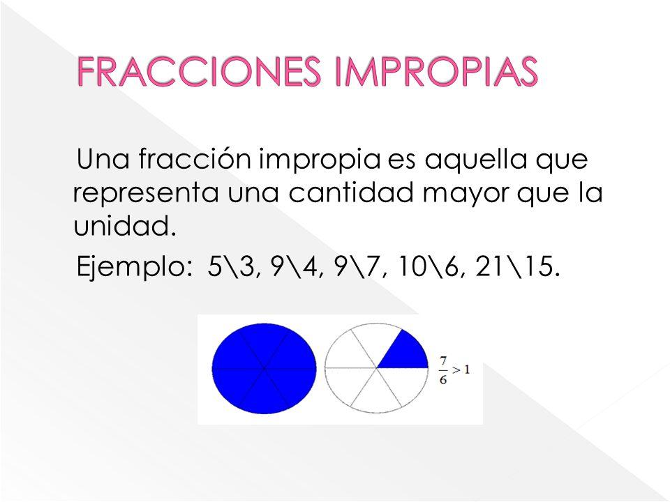 FRACCIONES IMPROPIAS Una fracción impropia es aquella que representa una cantidad mayor que la unidad.