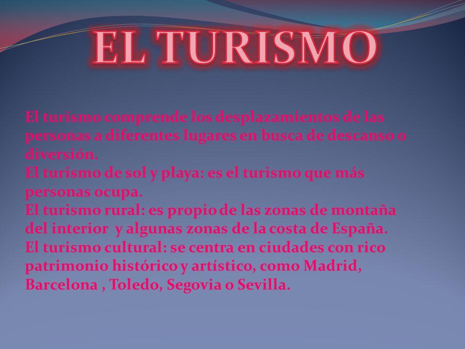EL TURISMO El turismo comprende los desplazamientos de las personas a diferentes lugares en busca de descanso o diversión.