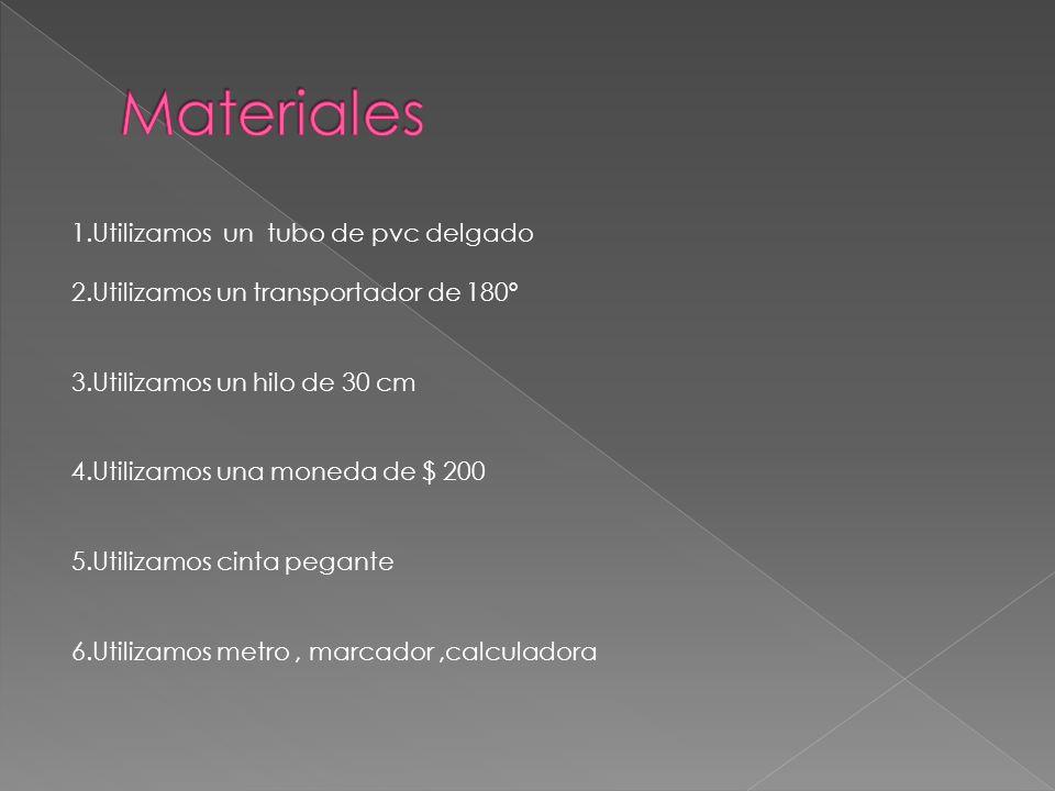 Materiales 1.Utilizamos un tubo de pvc delgado