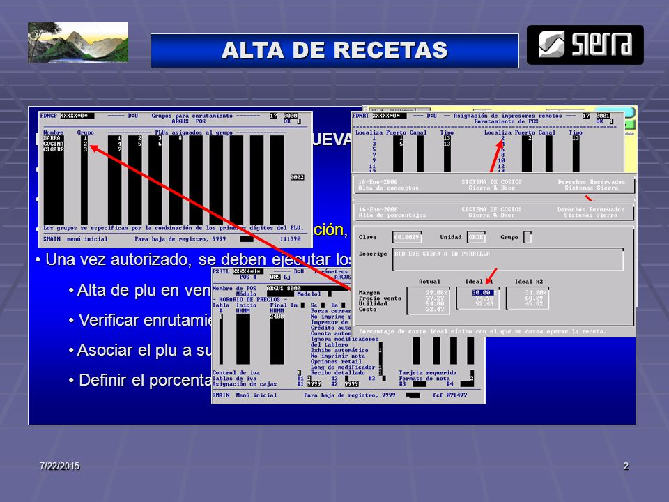 ALTA DE RECETAS EL PROCESO PARA EL ALTA DE NUEVAS RECETAS ES: