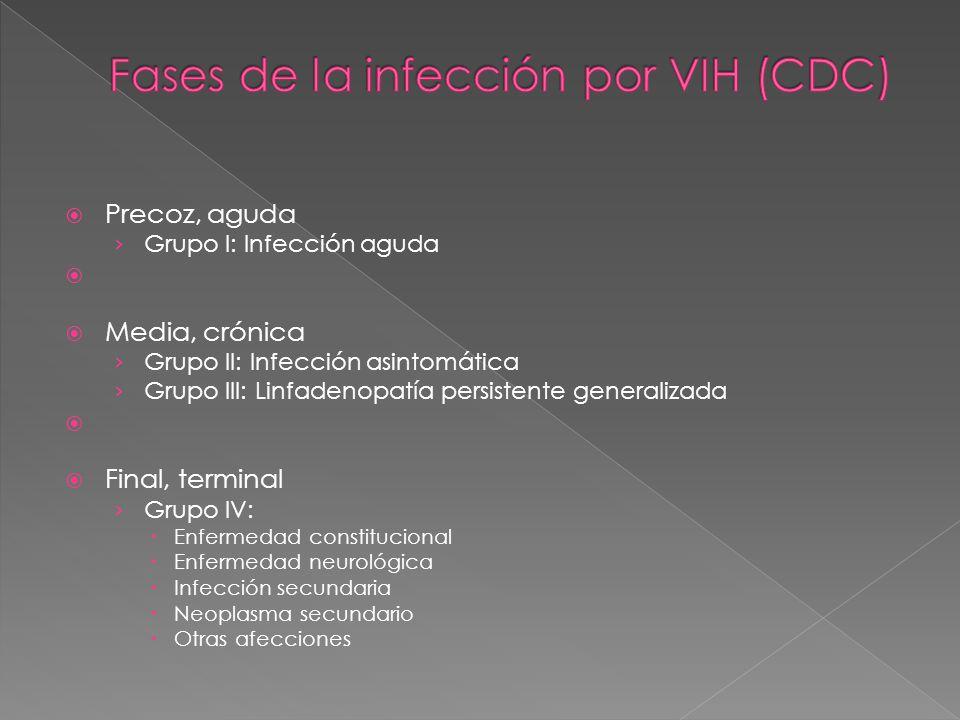 Fases de la infección por VIH (CDC)
