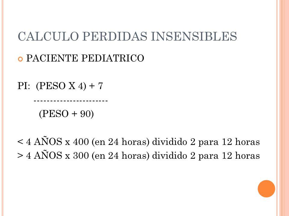 CALCULO PERDIDAS INSENSIBLES