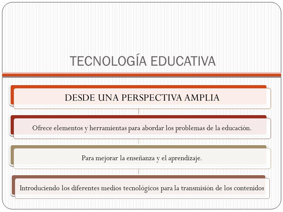 TECNOLOGÍA EDUCATIVA DESDE UNA PERSPECTIVA AMPLIA