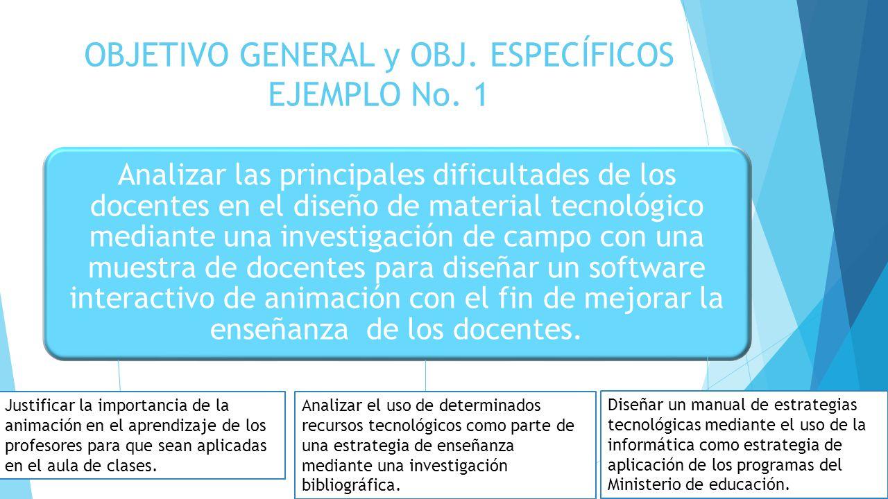 OBJETIVO GENERAL y OBJ. ESPECÍFICOS EJEMPLO No. 1