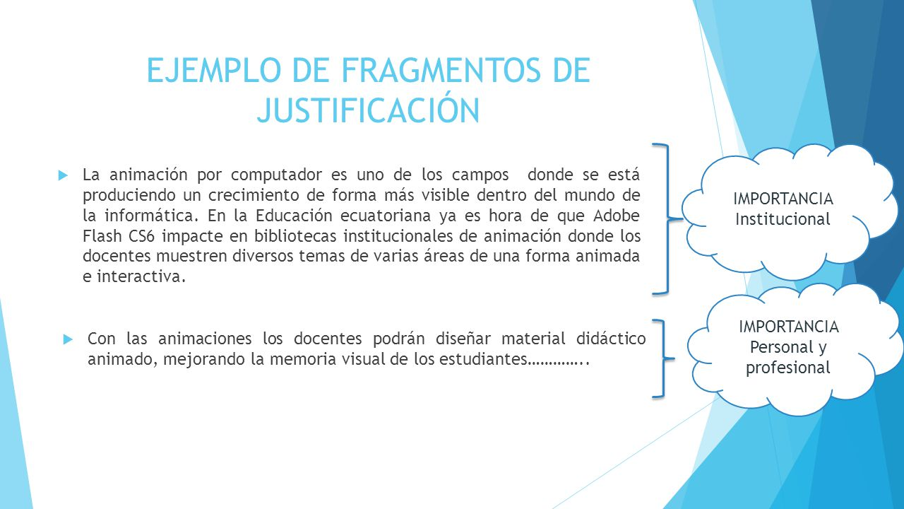 EJEMPLO DE FRAGMENTOS DE JUSTIFICACIÓN