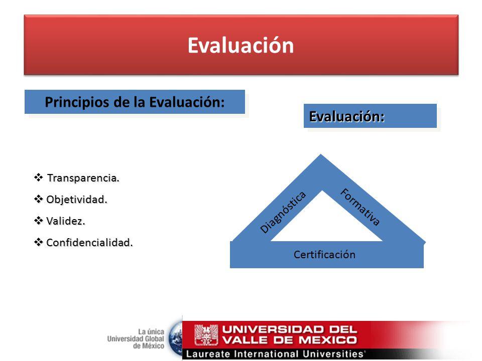Principios de la Evaluación: