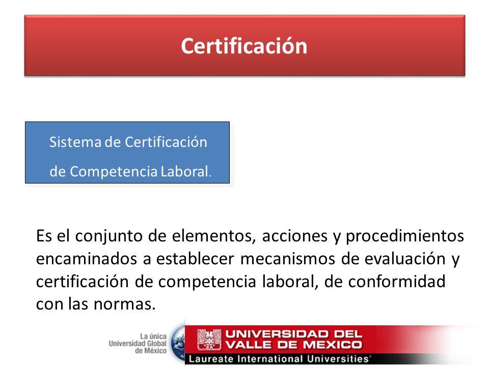 Certificación Sistema de Certificación. de Competencia Laboral.