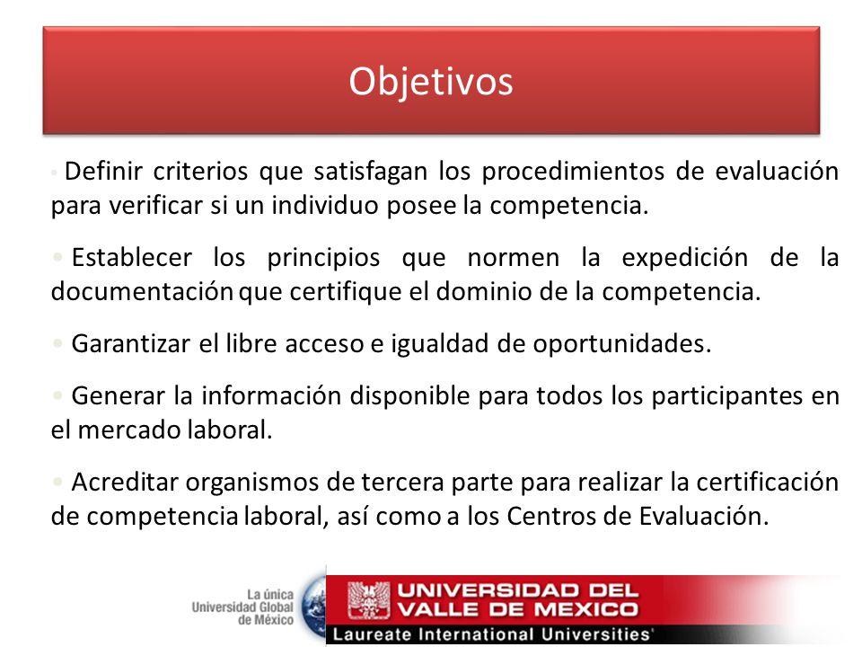 Objetivos Definir criterios que satisfagan los procedimientos de evaluación para verificar si un individuo posee la competencia.