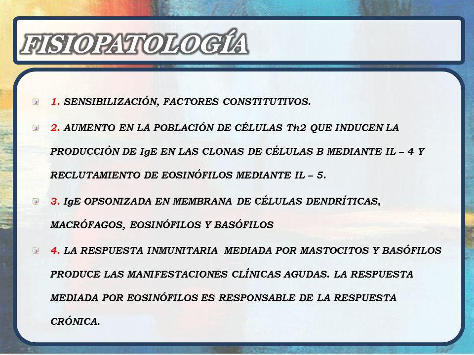 FISIOPATOLOGÍA 1. SENSIBILIZACIÓN, FACTORES CONSTITUTIVOS.