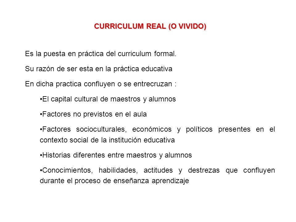 CURRICULUM REAL (O VIVIDO)