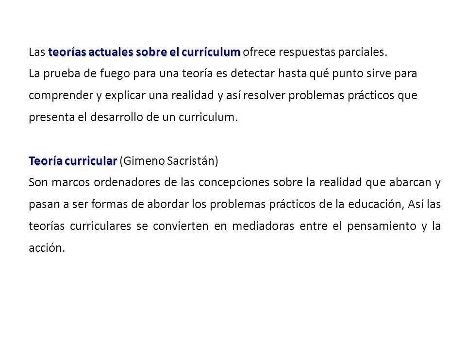 Las teorías actuales sobre el currículum ofrece respuestas parciales.