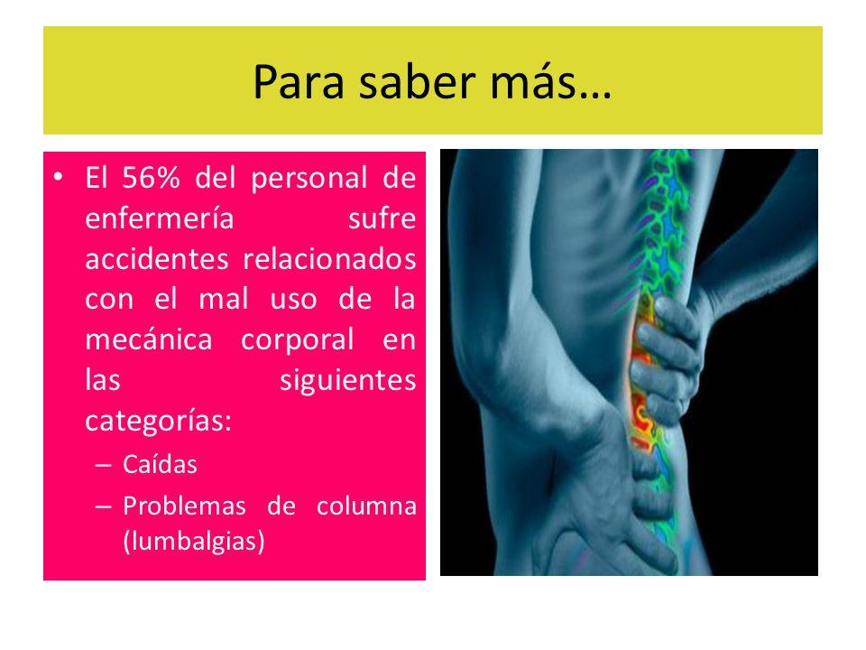 Para saber más… El 56% del personal de enfermería sufre accidentes relacionados con el mal uso de la mecánica corporal en las siguientes categorías:
