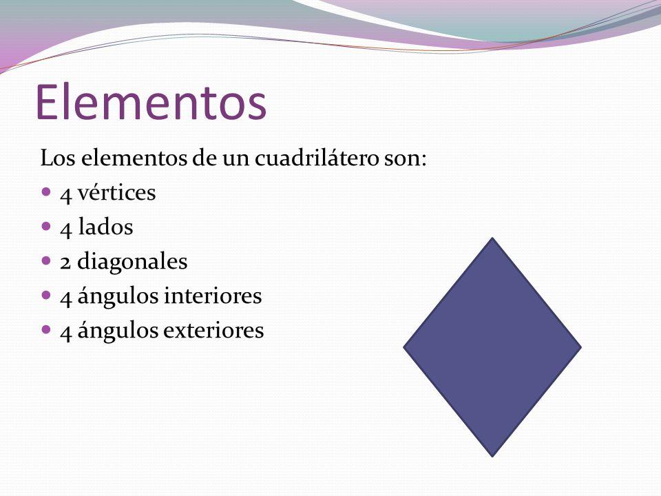 Elementos Los elementos de un cuadrilátero son: 4 vértices 4 lados