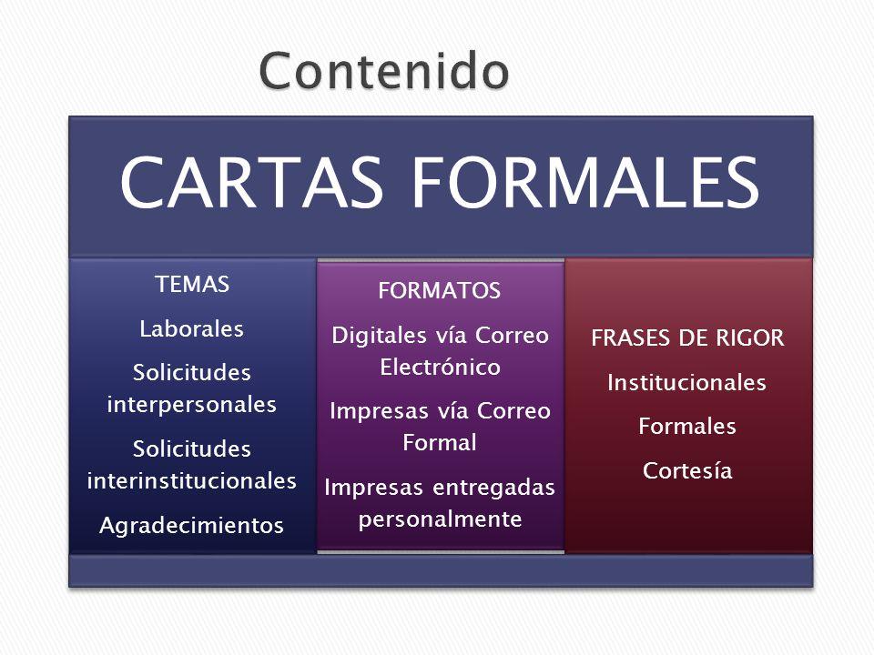Contenido CARTAS FORMALES Solicitudes interinstitucionales