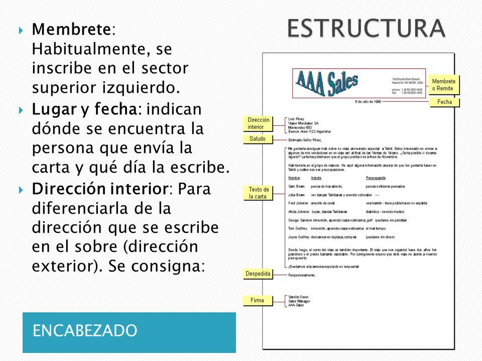 ESTRUCTURA Membrete: Habitualmente, se inscribe en el sector superior izquierdo.