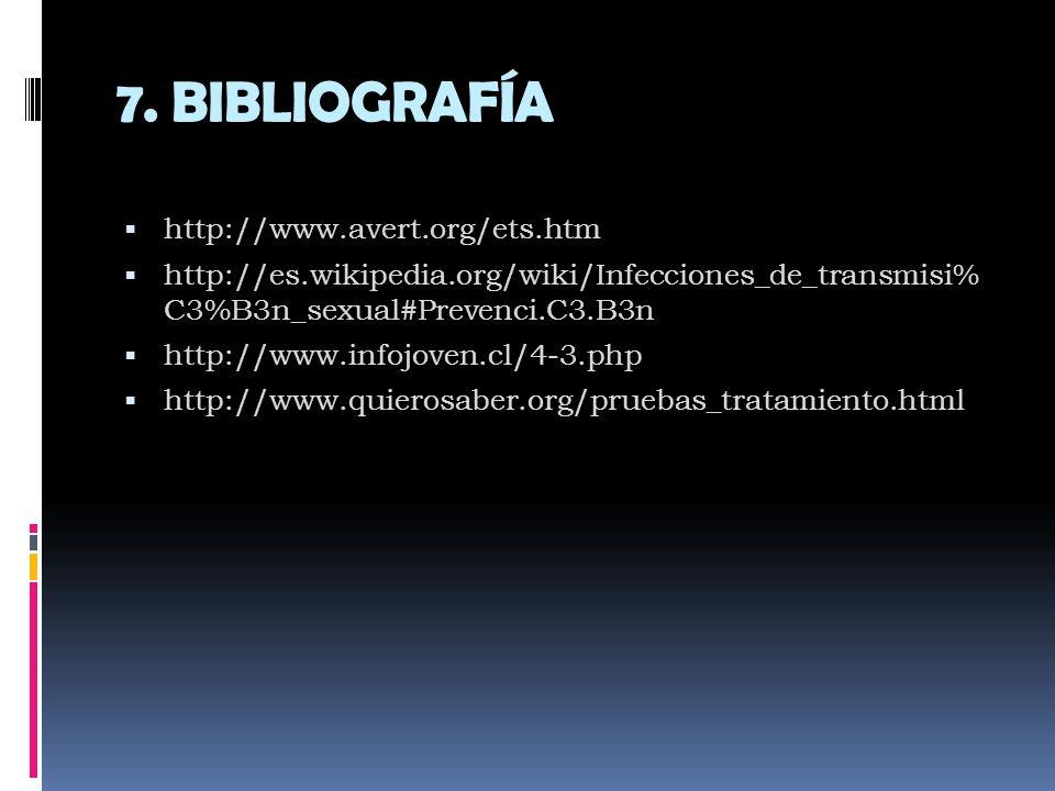 7. BIBLIOGRAFÍA http://www.avert.org/ets.htm
