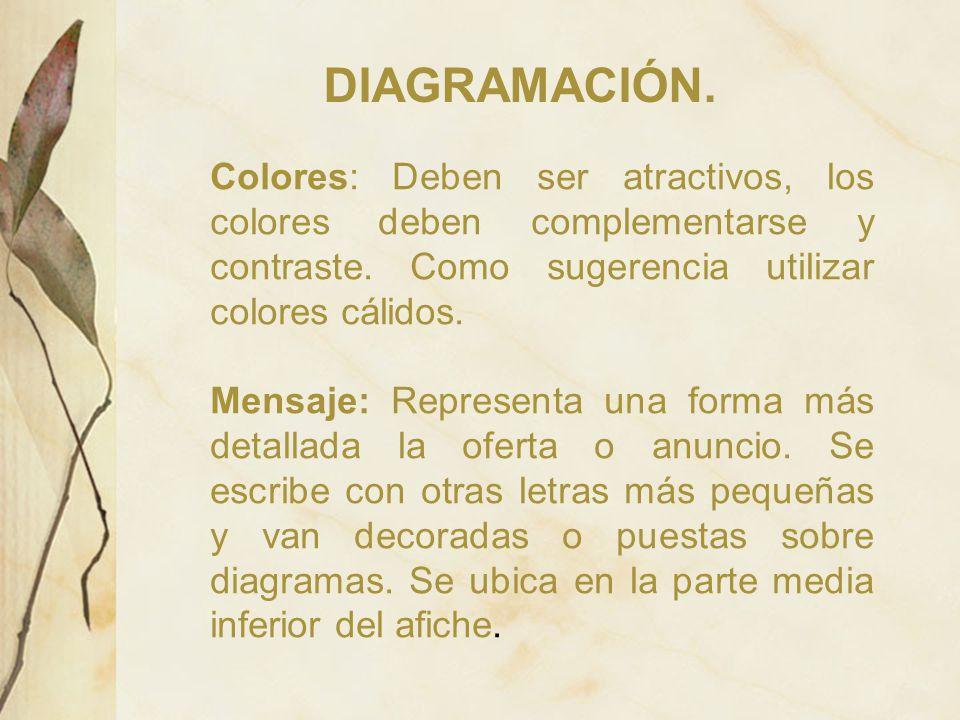 DIAGRAMACIÓN. Colores: Deben ser atractivos, los colores deben complementarse y contraste. Como sugerencia utilizar colores cálidos.