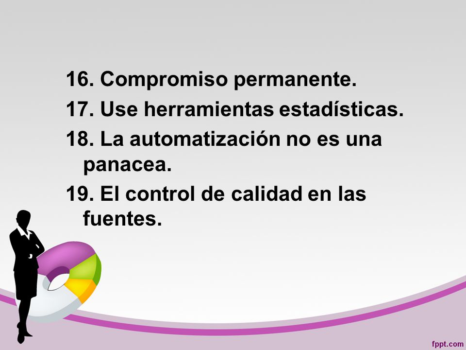 16. Compromiso permanente. 17. Use herramientas estadísticas. 18