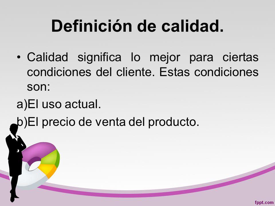 Definición de calidad. Calidad significa lo mejor para ciertas condiciones del cliente. Estas condiciones son: