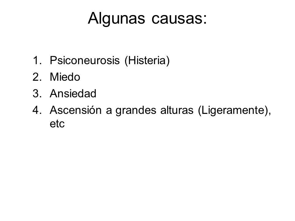Algunas causas: Psiconeurosis (Histeria) Miedo Ansiedad