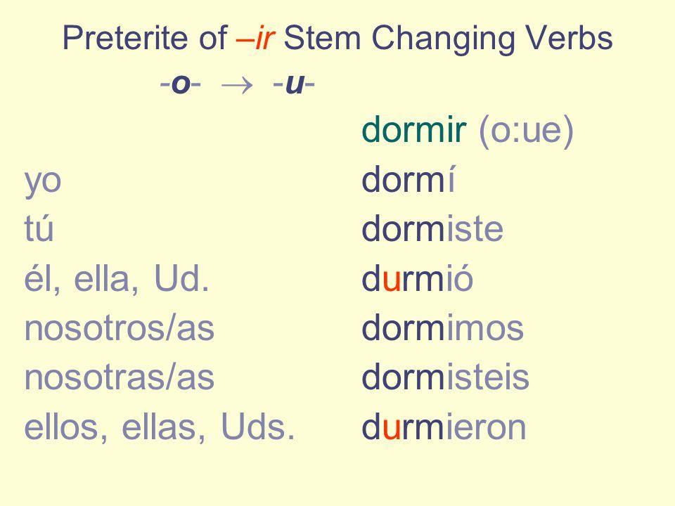 preterite of stem changing verbs ppt descargar. Black Bedroom Furniture Sets. Home Design Ideas