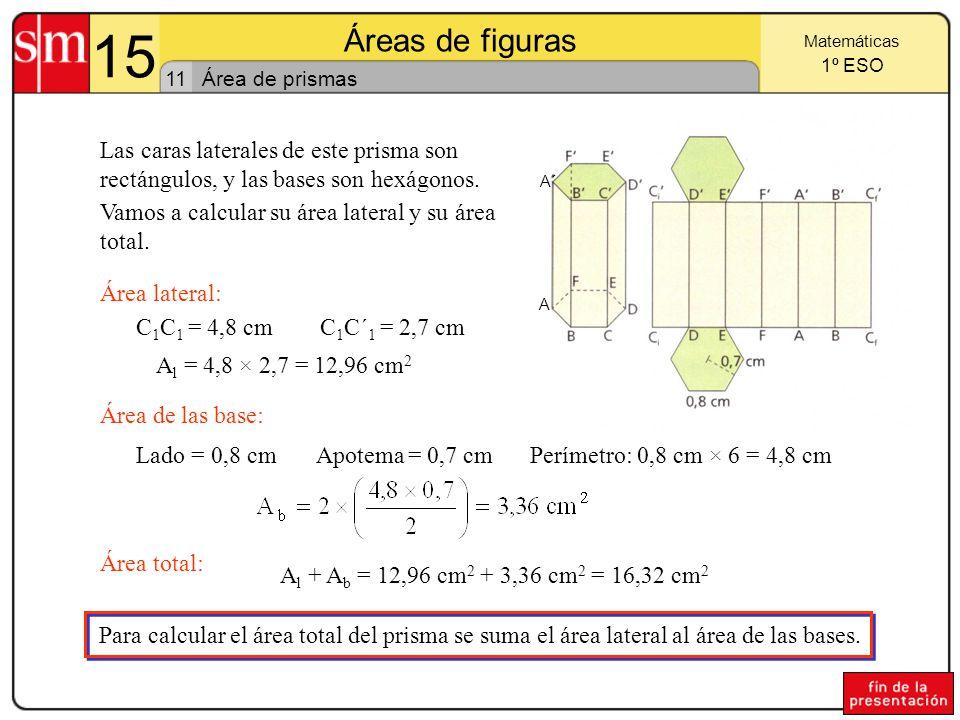 15 Áreas de figuras. Matemáticas. 1º ESO. 11. Área de prismas. A´ A.