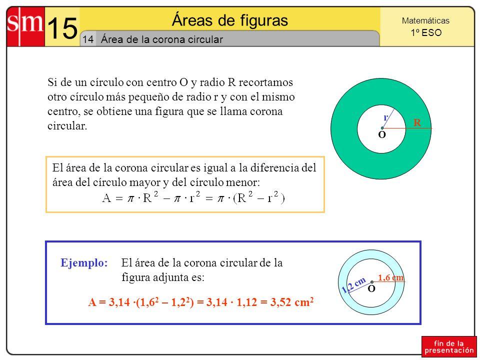 15 Áreas de figuras. Matemáticas. 1º ESO. 14. Área de la corona circular.